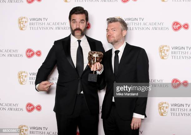 Rob Delaney with Charlie Brooker winner of the Comedy Entertainment Programme for 'Charlie Brooker's 2016 Wipe' in the Winner's room at the Virgin TV...