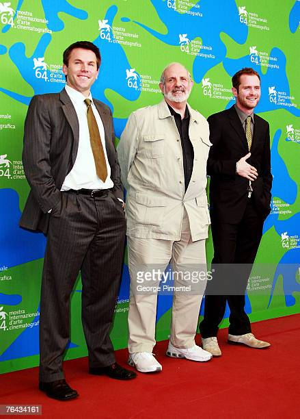 Rob Devaney director Brian De Palma and Patrick Carroll attend the Redacted Photocall in Venice during day 3 of the 64th Venice Film Festival on...