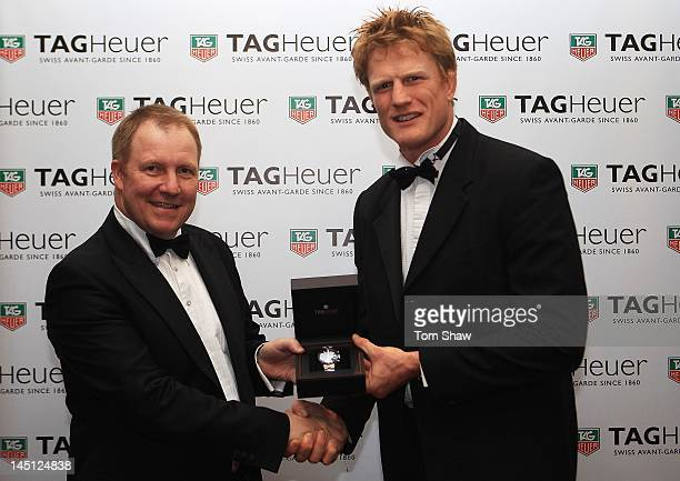 Rob Diver of TAG Heuer UK and Hugh Vyvyan of Saracens pose with the TAG Heuer Special Merit Award during the RPA Computacenter Rugby Players Awards...