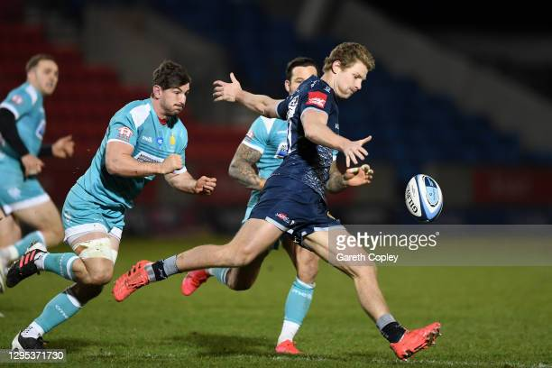 Rob du Preez of Sale kicks down field during the Gallagher Premiership Rugby match between Sale Sharks and Worcester Warriors at AJ Bell Stadium on...