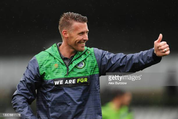 Rob Edwards, Head Coach of Forest Green Rovers celebrates his team's victory at full-time after the Sky Bet League Two match between Forest Green...