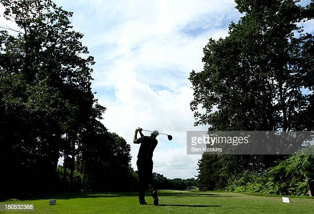 Rob Edwards of the LeeontheSolent Golf Club tees off on the 14th hole during the Regional Final of the Virgin Atlantic PGA National ProAm...