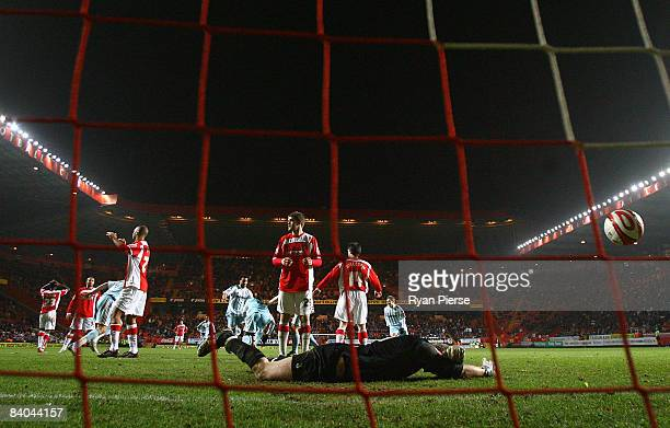 Rob Elliiot of Charlton lies on the ground after Nathan Ellington of Derby scored his team's second and equalizing goal during the Coca Cola...