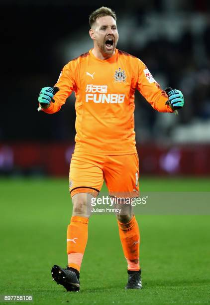 Rob Elliot goalkeeper of Newcastle celebrates at full time during the Premier League match between West Ham United and Newcastle United at London...