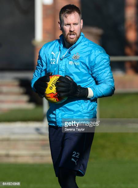 Rob Elliot holds the ball during the Newcastle United Training Session at The Newcastle United Training Centre on February 24 2017 in Newcastle upon...