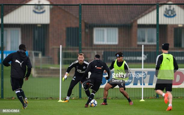 Rob Elliot looks to make a save during the Newcastle United Training session at the Newcastle United Training Centre on October 19 in Newcastle...