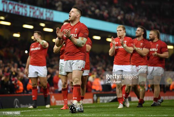 Rob Evans of Wales applauds fans following victory in the Guinness Six Nations match between Wales and England at Principality Stadium on February 23...