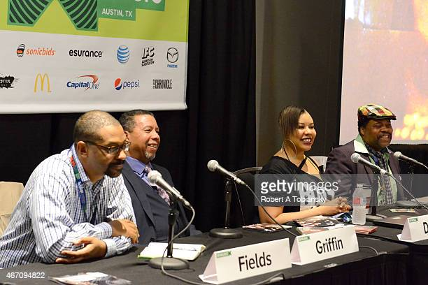 Rob Fields Bevis Griffin LaRonda Davis and Greg Tate speak onstage at 'Deep Roots of Rock Making Rock Relevant Again' during the 2015 SXSW Music Film...