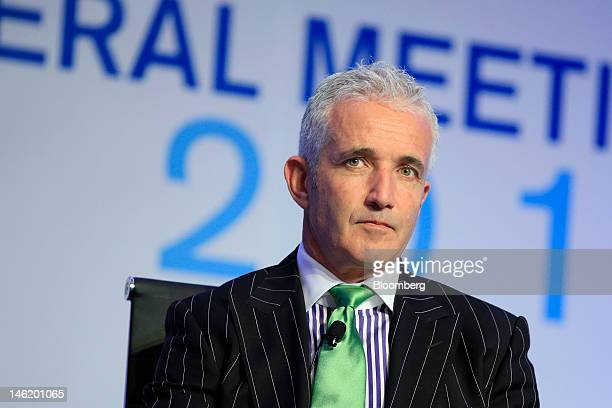 Rob Fyfe chief executive officer of Air New Zealand Ltd attends a panel discussion during the International Air Transport Association annual general...