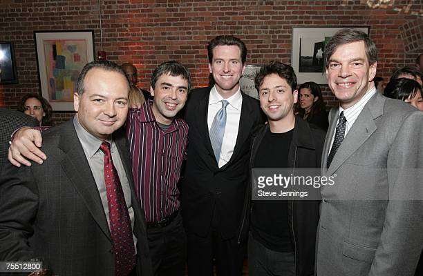 Rob Glaser of Real Networks Larry Page Mayor Gavin Newsom Sergey Brin and Joel Hyatt CEO during Current TV Launch Party and Rally with Al Gore and...