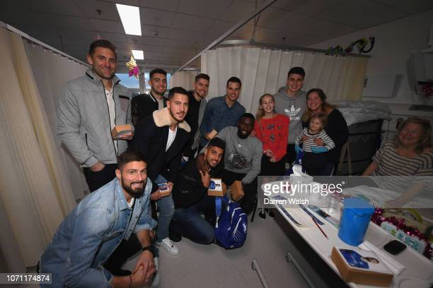 Rob Green Mateo Kovacic Emerson Kepa Arrizabalaga Cesar Azpilicueta Olivier Giroud Antonio Rudiger and Eden Hazard of Chelsea visit patients during a...
