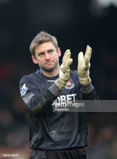 Rob Green of West Ham United applauds the fans before the Barclays Premier League match between Fulham and West Ham United at Craven Cottage on...