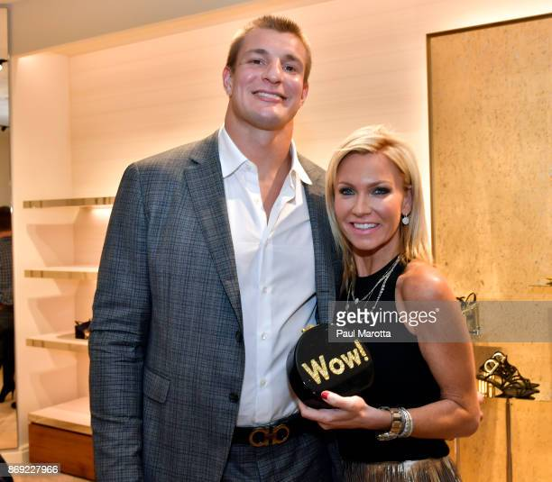 Rob Gronkowski and Ashley Bernon attend the Opening of the Salvatore Ferragamo Copley Place store on November 2 2017 in Boston Massachusetts