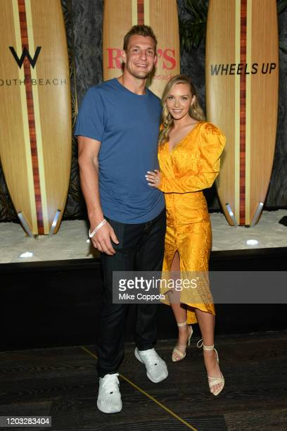 Rob Gronkowski and Camille Kostek attend as Wheels Up hosts an exclusive membersonly dinners at the Wheels Up Rao's By The Beach PopUp Restaurant in...
