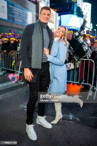 Rob Gronkowski and Camille Kostek attend Times Square New Year's Eve 2020 Celebration on December 31 2019 in New York City