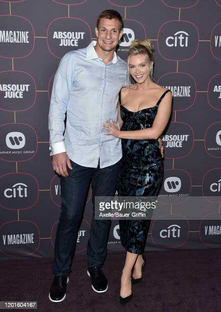Rob Gronkowski and Camille Kostek attend Warner Music Group PreGrammy Party 2020 at Hollywood Athletic Club on January 23 2020 in Hollywood California