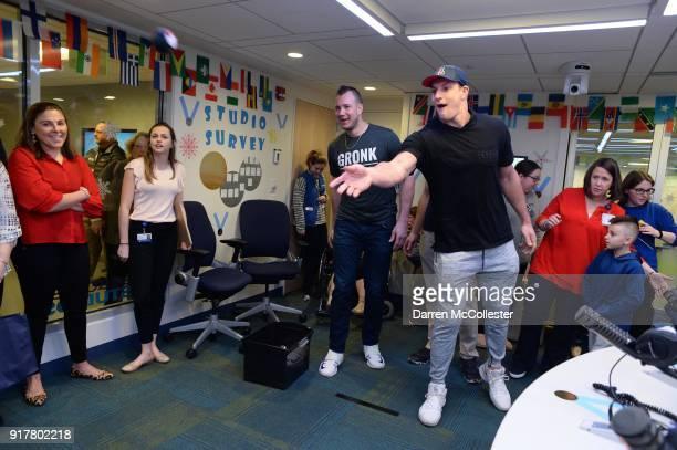 Rob Gronkowski and Gordie Gronkowski Jr play Olympic beanbag toss at Boston Children's Hospital on February 13 2018 in Boston Massachusetts