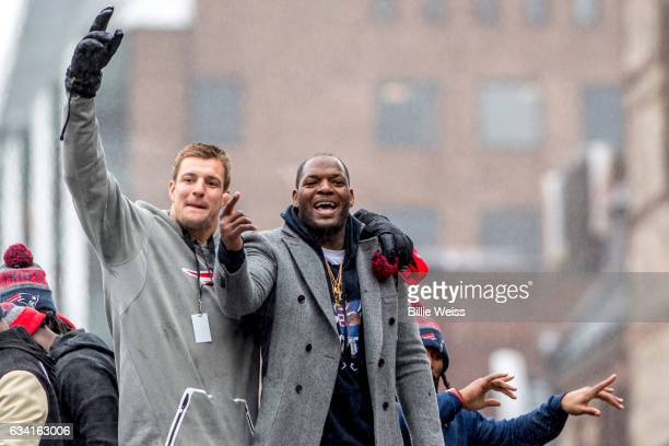 Rob Gronkowski and Martellus Bennett of the New England Patriots celebrate during the Super Bowl victory parade on February 7 2017 in Boston...