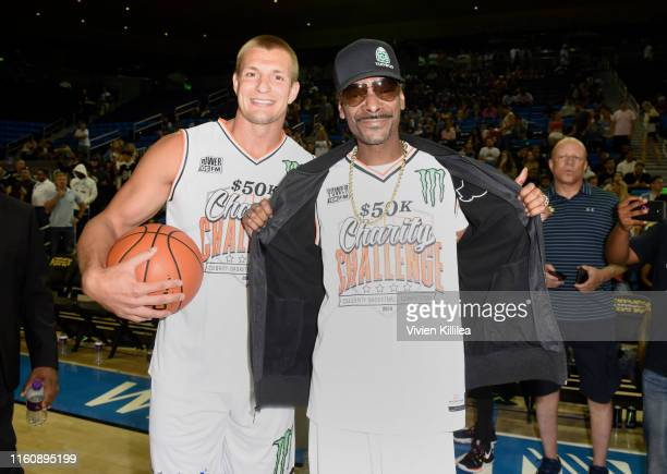 Rob Gronkowski and Snoop Dogg attend the Monster Energy $50K Charity Challenge Celebrity Basketball Game at UCLA's Pauley Pavilion on July 08, 2019...
