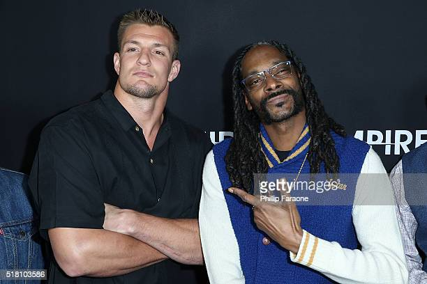 Rob Gronkowski and Snoop Dogg attend the premiere of Freestyle Releasing's Meet the Blacks at ArcLight Hollywood on March 29 2016 in Hollywood...