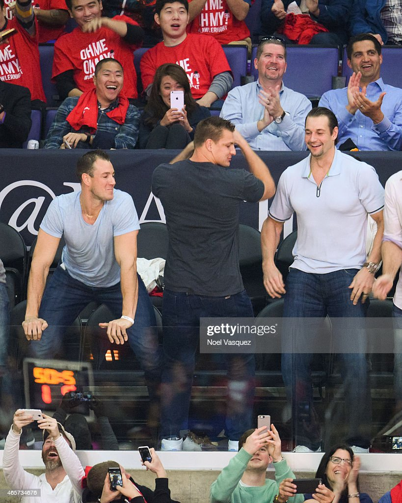 Rob Gronkowski (C) dances during 'Dance Cam' at a basketball game between the Minnesota Timberwolves and the Los Angeles Clippers at Staples Center on March 9, 2015 in Los Angeles, California.