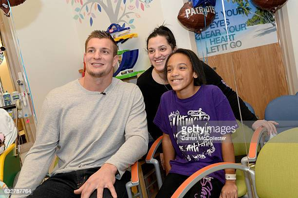 Rob Gronkowski films video with Jaianna and Mom at Boston Children's Hospital promoting Gronk Nation Superbowl sweepstakes on January 26 2017 in...