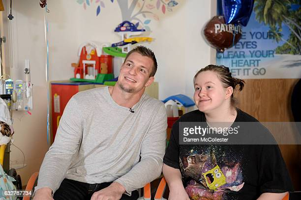 Rob Gronkowski films video with Lucy at Boston Children's Hospital promoting Gronk Nation Superbowl sweepstakes on January 26 2017 in Boston...