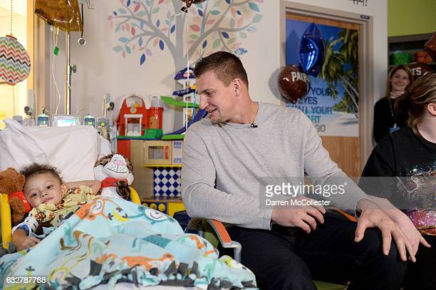 Rob Gronkowski films video with Torren at Boston Children's Hospital promoting Gronk Nation Superbowl sweepstakes on January 26 2017 in Boston...