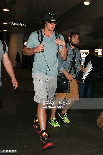 Rob Gronkowski is seen at LAX on March 11 2016 in Los Angeles California