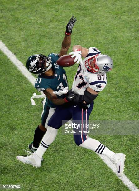 Rob Gronkowski of the New England Patriots attempts a catch defended by Jalen Mills of the Philadelphia Eagles in the second quarter of the Super...