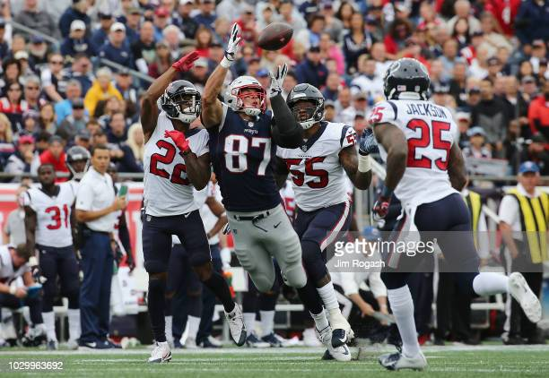 Rob Gronkowski of the New England Patriots attempts to catch a pass from Tom Brady during the second quarter against the Houston Texans at Gillette...