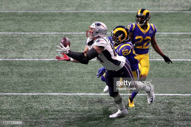 Rob Gronkowski of the New England Patriots catches a 29yard reception in the fourth quarter against the Los Angeles Rams during Super Bowl LIII at...