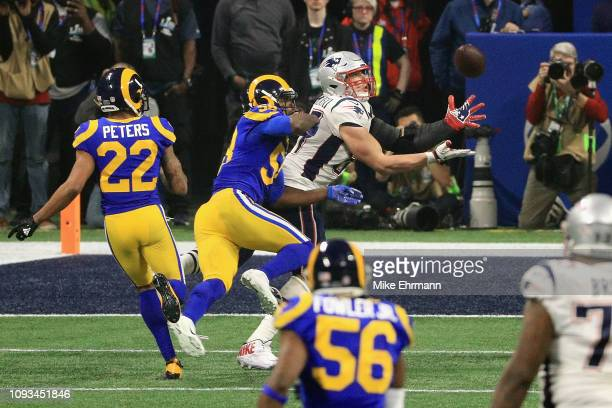 Rob Gronkowski of the New England Patriots catches a pass against the Los Angeles Rams in the fourth quarter during Super Bowl LIII at MercedesBenz...
