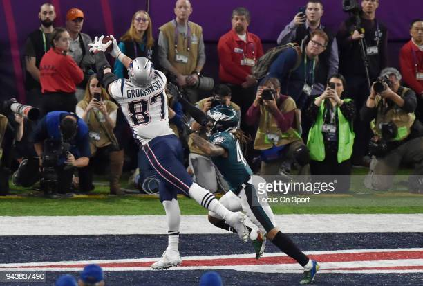 Rob Gronkowski of the New England Patriots catches a touchdown pass over Ronald Darby of the Philadelphia Eagles Super Bowl LII at US Bank Stadium on...