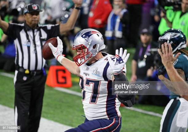 Rob Gronkowski of the New England Patriots celebrates a touchdown reception against the Philadelphia Eagles in the fourth quarter of Super Bowl LII...