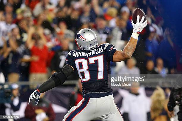 Rob Gronkowski of the New England Patriots celebrates after a touchdown against the Pittsburgh Steelers at Gillette Stadium on September 10 2015 in...