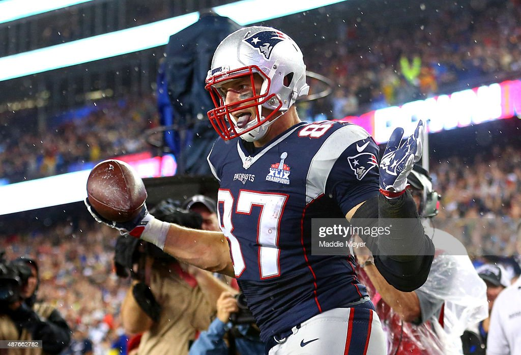 Rob Gronkowski #87 of the New England Patriots celebrates after scoring his third touchdown of the game in the fourth quarter against the Pittsburgh Steelers at Gillette Stadium on September 10, 2015 in Foxboro, Massachusetts.