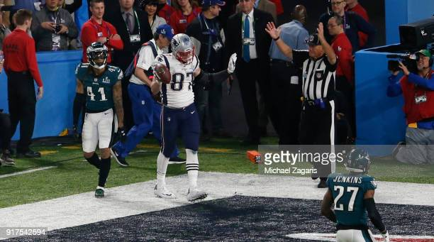 Rob Gronkowski of the New England Patriots celebrates after scoring on a fouryard touchdown reception during the game against the Philadelphia Eagles...