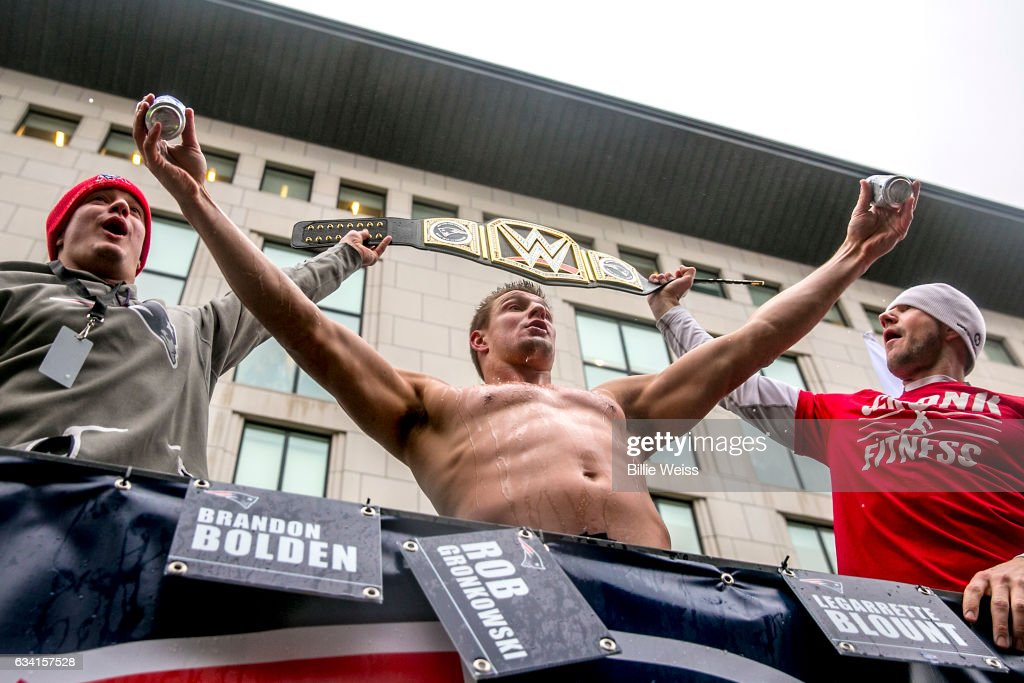 Rob Gronkowski of the New England Patriots celebrates during the Super Bowl victory parade on February 7, 2017 in Boston, Massachusetts. The Patriots defeated the Atlanta Falcons 34-28 in overtime in Super Bowl 51.