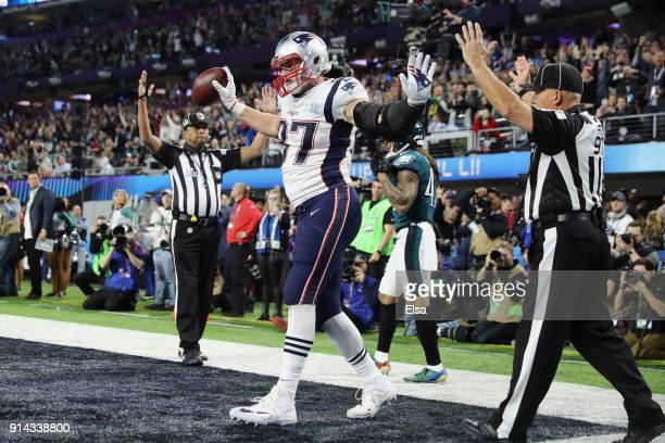 Rob Gronkowski of the New England Patriots celebrates his 4yard fourth quarter touchdown reception against the Philadelphia Eagles in Super Bowl LII...