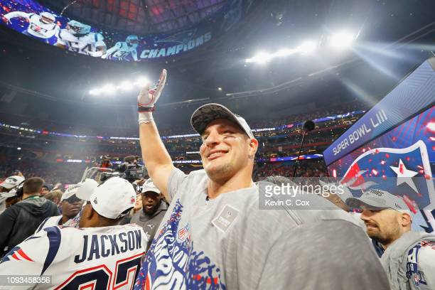 Rob Gronkowski of the New England Patriots celebrates his team's victory in the Super Bowl LIII at MercedesBenz Stadium on February 3 2019 in Atlanta...