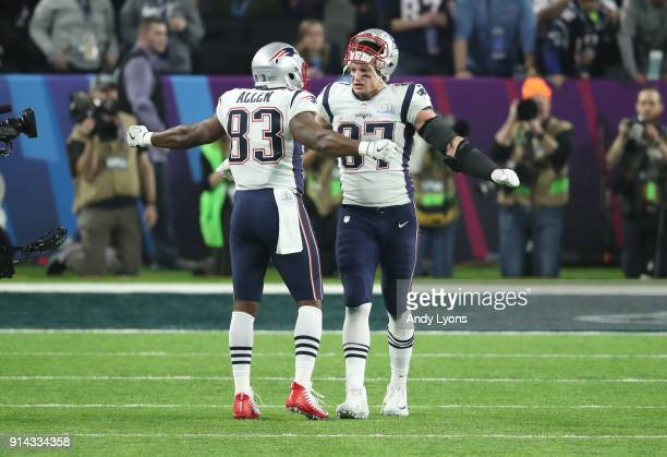 Rob Gronkowski of the New England Patriots celebrates with Dwayne Allen after a touchdown against the Philadelphia Eagles during the third quarter in...