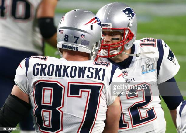 Rob Gronkowski of the New England Patriots celebrates with Tom Brady of the New England Patriots during the third quarter against the Philadelphia...