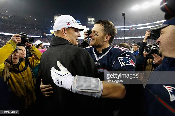 Rob Gronkowski of the New England Patriots hugs Tom Brady after the New England Patriots defeated the Pittsburgh Steelers 3617 to win the AFC...