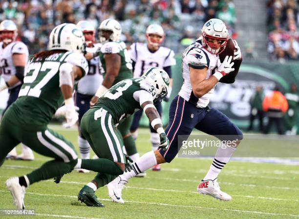 Rob Gronkowski of the New England Patriots in action against the New York Jets during their game at MetLife Stadium on November 25 2018 in East...