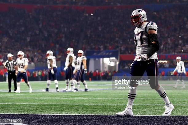 Rob Gronkowski of the New England Patriots in the end zone during Super Bowl LIII against the Los Angeles Rams at MercedesBenz Stadium on February 03...