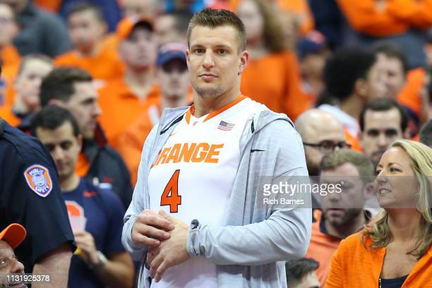 Rob Gronkowski of the New England Patriots looks on prior to the game between the Duke Blue Devils and the Syracuse Orange at the Carrier Dome on...