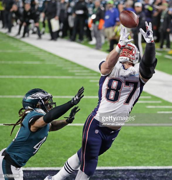 Rob Gronkowski of the New England Patriots makes a 4yard touchdown reception against Ronald Darby of the Philadelphia Eagles in the fourth quarter of...