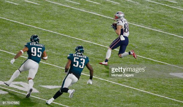 Rob Gronkowski of the New England Patriots makes a reception during the game against the Philadelphia Eagles in Super Bowl LII at US Bank Stadium on...