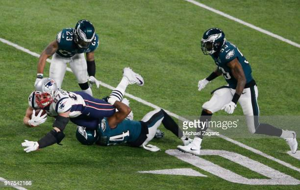 Rob Gronkowski of the New England Patriots makes a reception for a 25yard gain during the game against the Philadelphia Eagles in Super Bowl LII at...